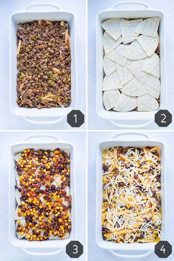Step by step pictures for how to make this healthy Mexican breakfast casserole.