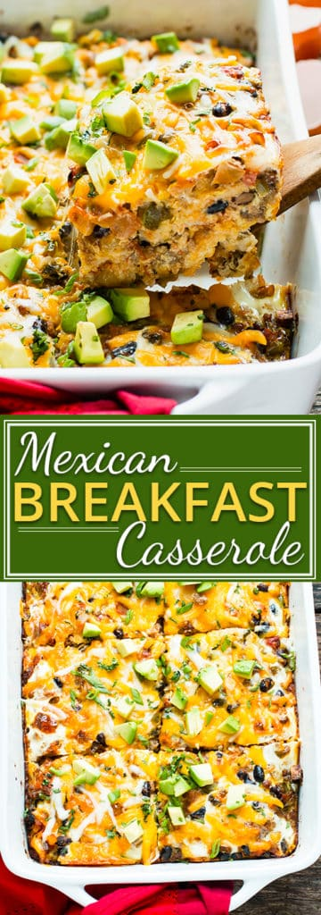 Healthy Mexican Breakfast Casserole | The holiday season is just around the corner, and this healthy Mexican breakfast casserole is sure to keep away the morning hangry. This make-ahead breakfast recipe is so easy to throw together and is gluten-free, vegetarian, and kid-friendly!