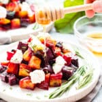 Oven-Roasted Beets with Honey Ricotta & Herbs | An elegant but super easy side dish, these oven-roasted beets are served with a slightly sweet and tangy honey ricotta and then topped with fresh herbs.  These roasted golden beets make the perfect Thanksgiving, Christmas, Easter, or dinner party side dish.