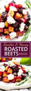 Oven-Roasted Beets with Honey Ricotta | An elegant but super easy side dish, these oven-roasted beets are served with a slightly sweet and tangy honey ricotta and then topped with fresh herbs.  These roasted golden beets make the perfect Thanksgiving, Christmas, Easter, or dinner party side dish.