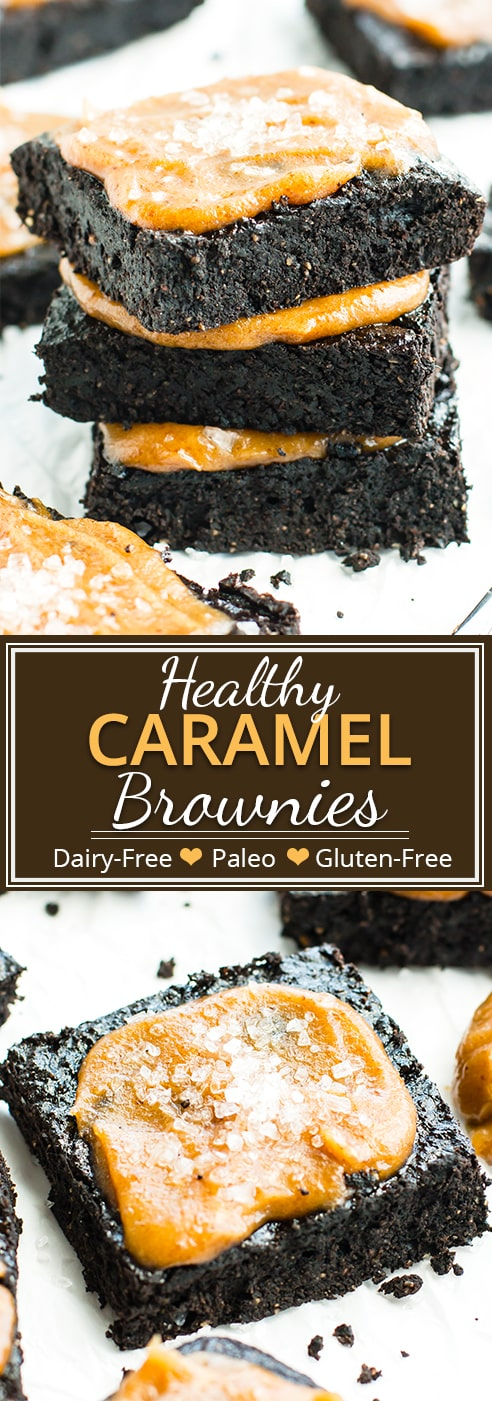 Salted Caramel Fudgy Paleo Brownies are super fudgy and have the perfect balance of salty and sweet!  This healthy brownie recipe is sure to become a new gluten-free and Paleo Christmas dessert favorite.