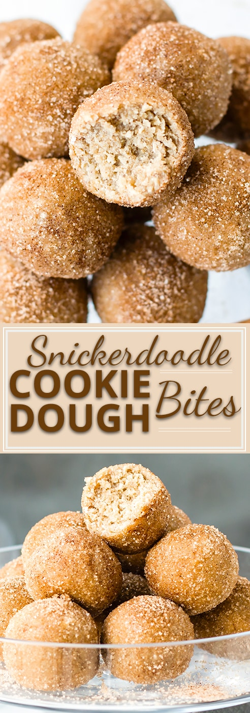 Enjoy your sweets while still loading up on nutrition with these gluten-free, dairy-free, and vegan Snickerdoodle Cookie Dough Bites. This healthy
