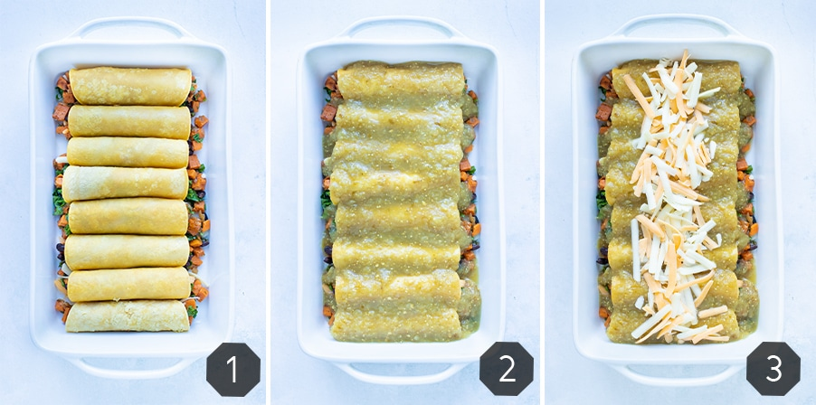 Instructional pictures for how to assemble your sweet potato black bean enchiladas