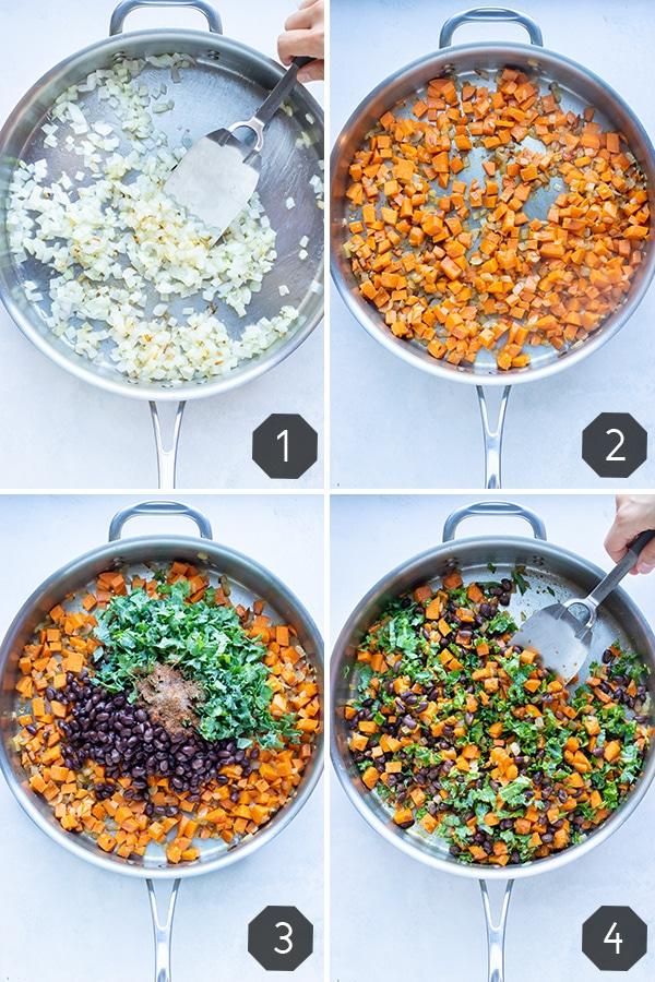 Instructional pictures for how to make sweet potato black bean enchiladas.