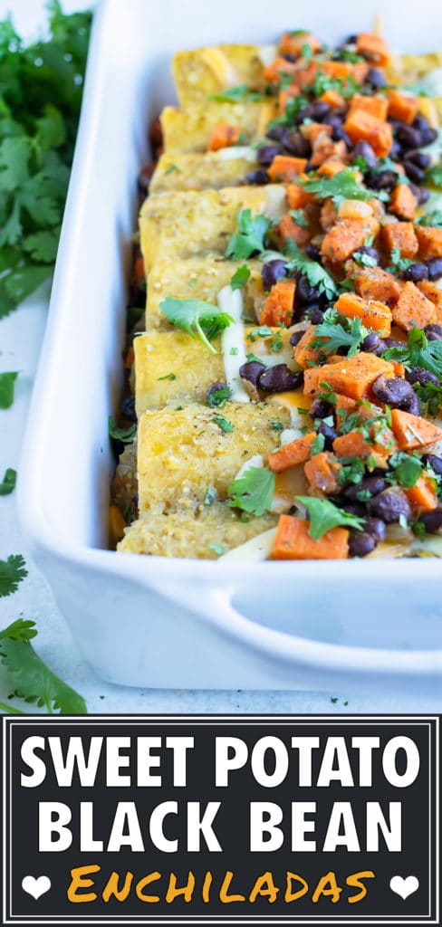 Healthy vegetarian enchiladas are served for a Mexican inspired dinner.