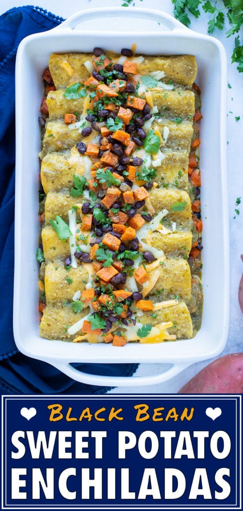 Sweet potato black bean enchiladas are placed on the counter with cilantro.