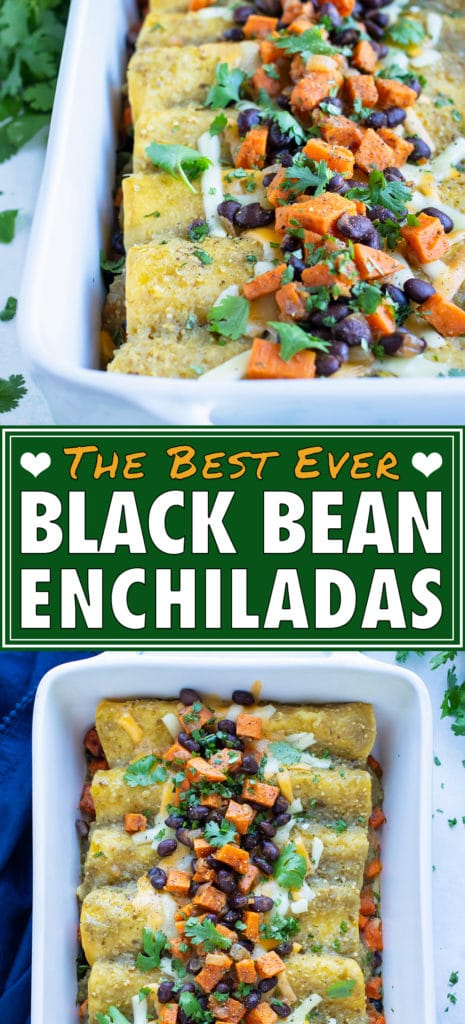 Enchiladas are served from a white baking dish.