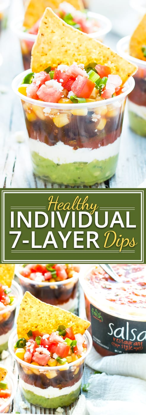 Super cute and personal, these individual healthy 7-layer dips are my guests' favorite snack at parties!  This dip recipe is perfect for Christmas, New Year's Eve, or even Game Day parties.  This post has been sponsored by Fresh Cravings.  All thoughts and opinions are my own.