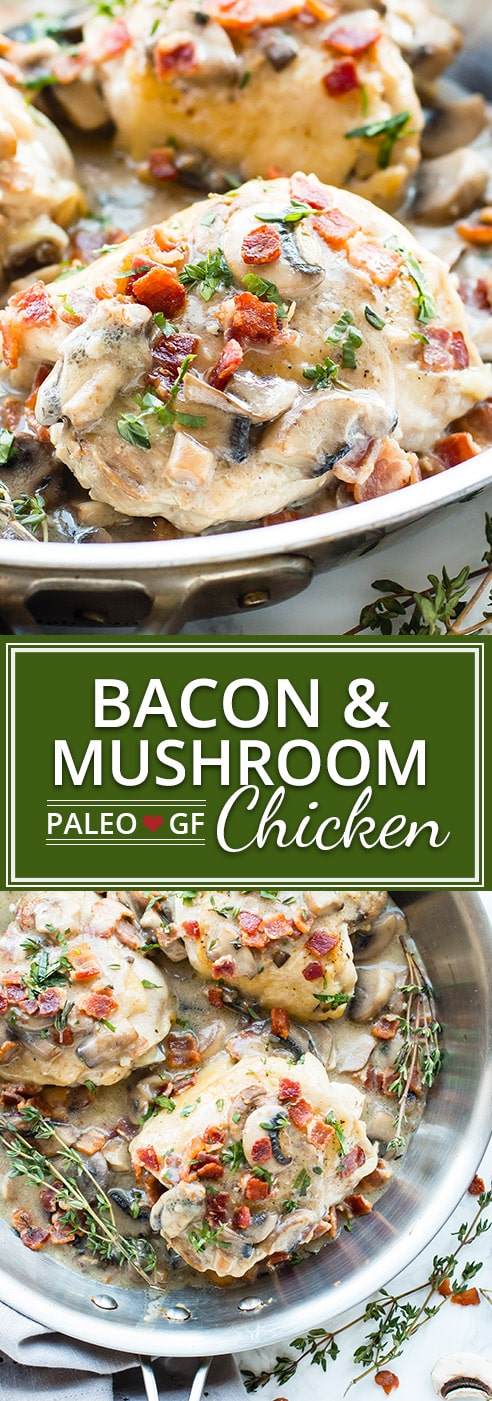 Creamy Bacon Mushroom Chicken Thighs | Make clean-up a breeze and make these creamy bacon mushroom chicken thighs in one skillet.   This healthy chicken dinner recipe is gluten-free, Paleo, dairy-free, and is sure to be a new family favorite!