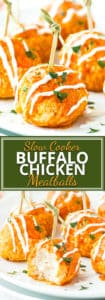 Slow Cooker Buffalo Chicken Meatballs are a super simple, easy, and low-carb appetizer recipe for game days, holiday get-togethers, or Super Bowl parties!