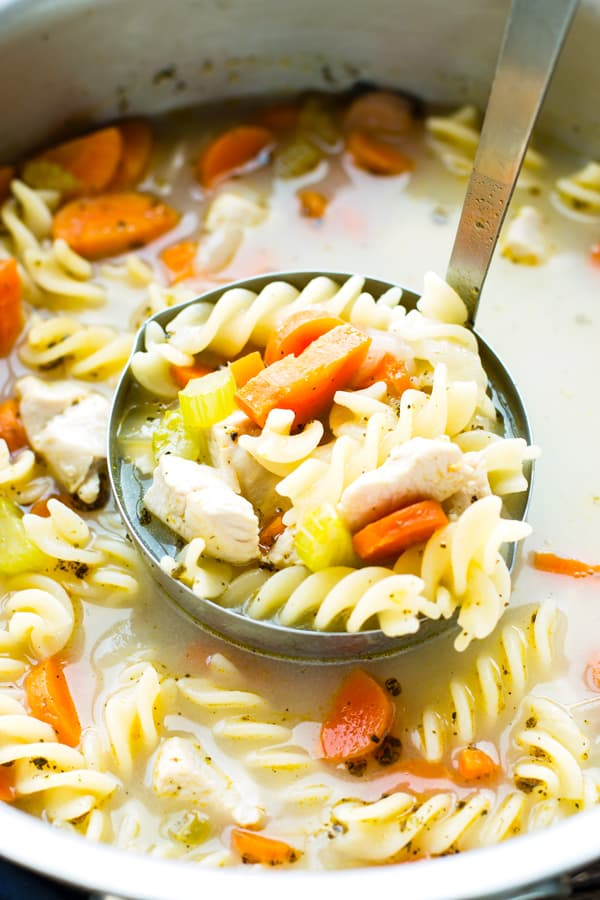 A ladle filled with healthy chicken noodle soup from a pot for a delicious dinner.