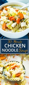 30-Minute Easy Chicken Noodle Soup | Quick and easy chicken noodle soup is the perfect remedy for the cold and flu season!  In under 30-minutes, you will be sitting down to a bowl full of America's favorite classic soup recipe.