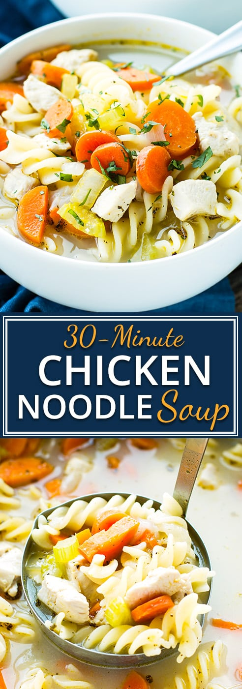 Quick and easy gluten-free chicken noodle soup is the perfect remedy for the cold and flu season! In under 30-minutes, you will be sitting down to a bowl full of America's favorite classic soup recipe.