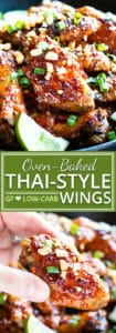 Perfectly sticky, sweet and a bit spicy, baked Thai chicken wings will be a new game day recipe favorite in your house!  This easy chicken wings recipe is oven-baked, low-carb, refined sugar-free, gluten-free, dairy-free, and absolutely addicting!