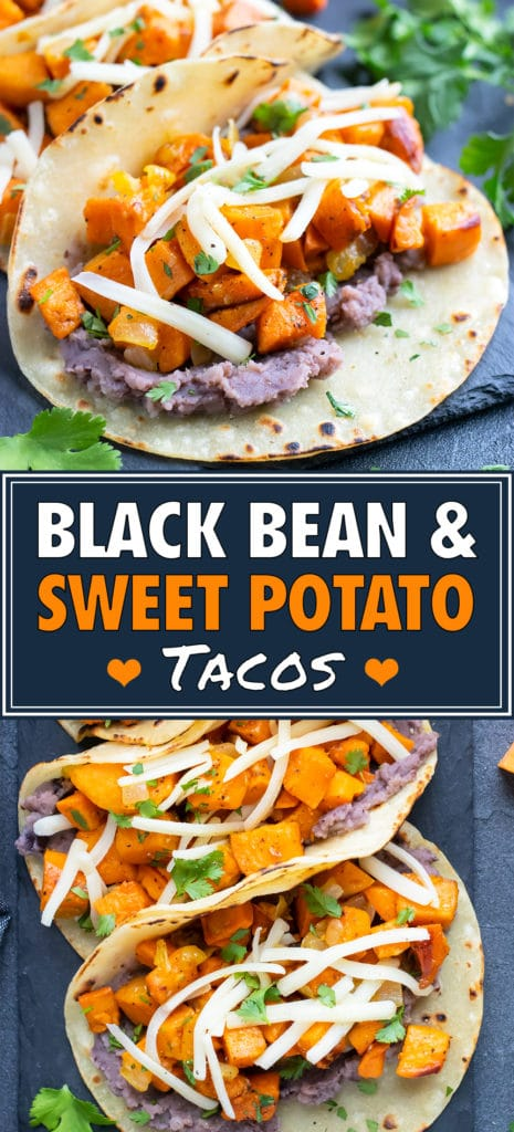 Vegetarian black bean sweet potato tacos with cheese in a corn tortilla.