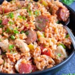 A bowl full of New Orlean's chicken and sausage jambalaya.