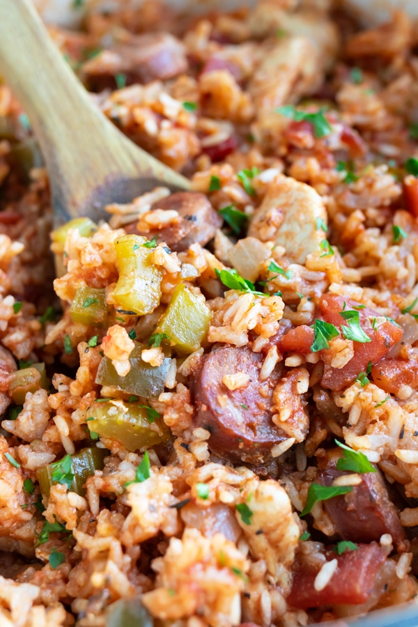 A true, authentic, Louisiana-style jambalaya recipe with andouille sausage and chicken.