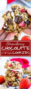 Strawberry Chocolate Chip Oatmeal Cookies | Healthy cookie recipe that is loaded with gluten-free oats, dark chocolate chips, and tons of fresh strawberries for a refined sugar-free, gluten-free, and vegan breakfast cookie recipe! They are a great Valentine's Day cookie recipe or dessert recipe.