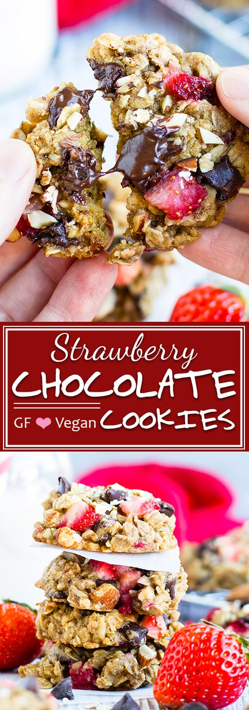 Strawberry Chocolate Chip Oatmeal Cookies   Healthy cookie recipe that is loaded with gluten-free oats, dark chocolate chips, and tons of fresh strawberries for a refined sugar-free, gluten-free, and vegan breakfast cookie recipe! They are a great Valentine's Day cookie recipe or dessert recipe.
