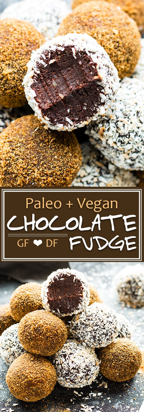 Paleo Chocolate Fudge Truffles are made with coconut milk and almond butter for a super creamy and ultra-fudgy grain-free, gluten-free, and vegan dessert recipe!