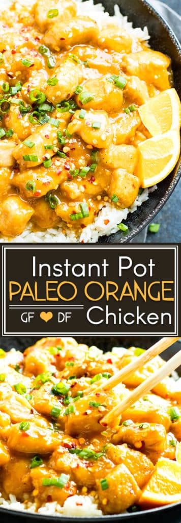 Instant Pot Orange Chicken comes together in under 30 minutes and is full of fresh orange flavor!!  It is a healthy grain-free, Paleo, gluten-free, and dairy-free Instant Pot chicken recipe the whole family will love!  This Instant Pot Orange Chicken recipe can easily be made Whole30-compliant!