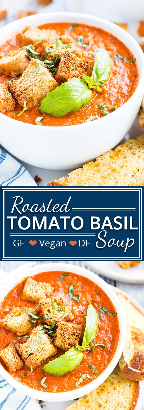 Roasted tomato basil soup is a super simple soup recipe that is bursting with fresh tomato flavor!  This vegan, dairy-free, Paleo, and Whole30 tomato soup is the perfect way to load up on the antioxidant lycopene and get tons of Vitamin C, K, and folate.