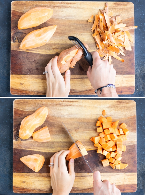Peeling sweet potatoes and then cutting them into cubes on a wooden cutting board.