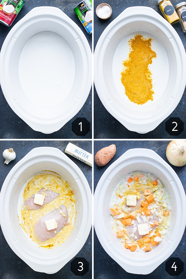 Four images showing you the step-by-step instructions for how to make chicken curry in the slow cooker.