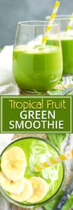Tropical Fruit and Spinach Green Smoothie Recipe | Start off your morning on a healthy note with a big glass full of this tropical fruit and spinach green smoothie!  This healthy smoothie recipe is loaded with antioxidants, superfood ingredients, over 9 grams of fiber and more than 100% of your daily Vitamin C to keep you full until lunch.