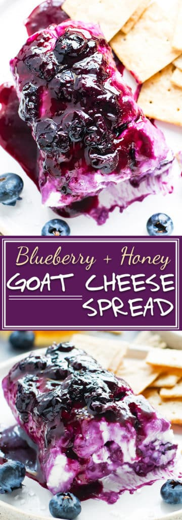 Honey Blueberry Goat Cheese Recipe | Whip up this sweet and savory Honey Blueberry Goat Cheese Log as your next party appetizer! This healthy goat cheese spread recipe is refined sugar-free, gluten-free, and an absolutely addicting snack.