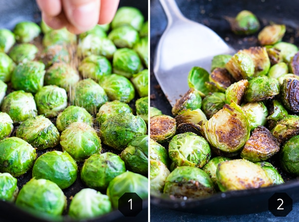 Sprinkling salt and pepper in one image and then showing how to make crispy Brussels sprouts.