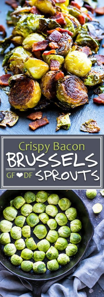 Super crispy Brussel sprouts with bacon will soon become your new favorite go-to gluten-free and Paleo side dish recipe! A few simple tricks will teach you how to make crispy Brussel sprouts every time.