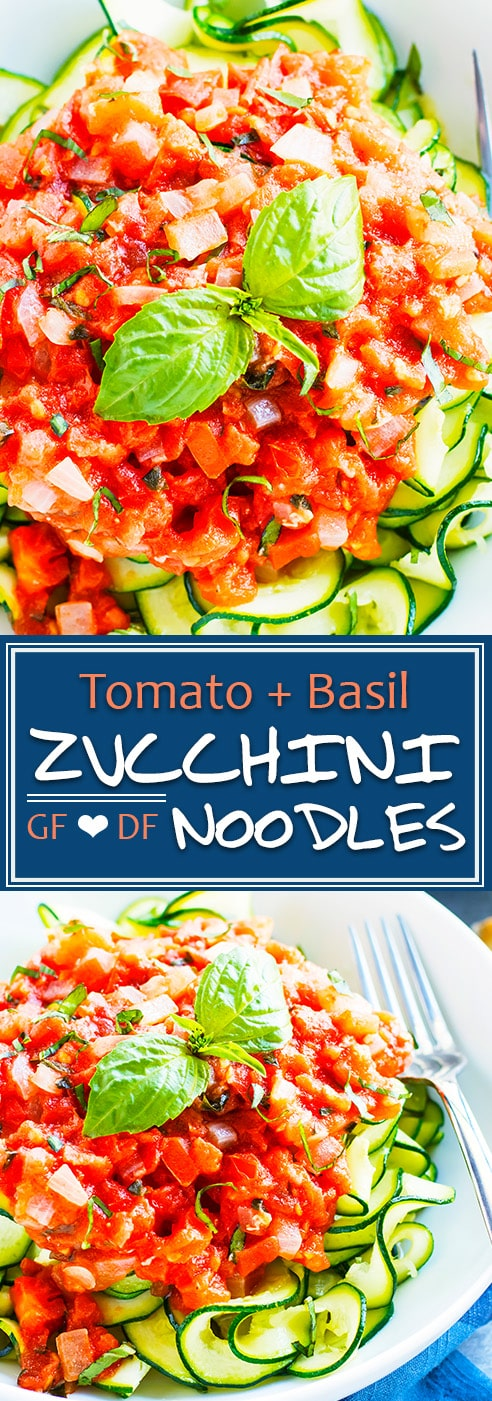 Fresh tomato basil zucchini noodles are loaded with nutrients and make a super simple vegan, gluten-free, Paleo, and whole30 dinner recipe for those busy weeknights!