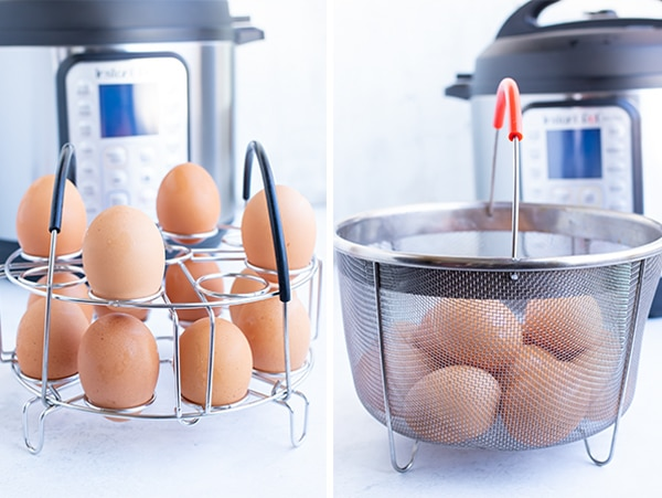 A egg rack and a steamer basket as accessories for the Instant Pot.