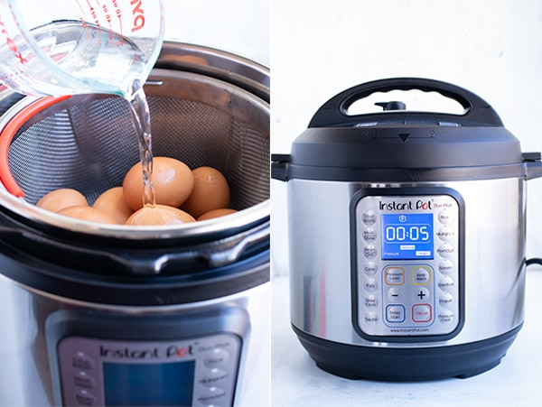 Cold water being poured into an instant pot and a timer set to 5 minutes.