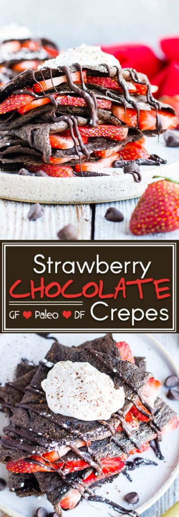 Paleo Chocolate Crepes with Strawberries | Paleo chocolate crepes are loaded with fresh strawberries and topped with homemade coconut whipped cream for a decadent breakfast treat your Valentine will love!  Gluten-free and grain-free crepes make an excellent healthy breakfast option that is kid-friendly!