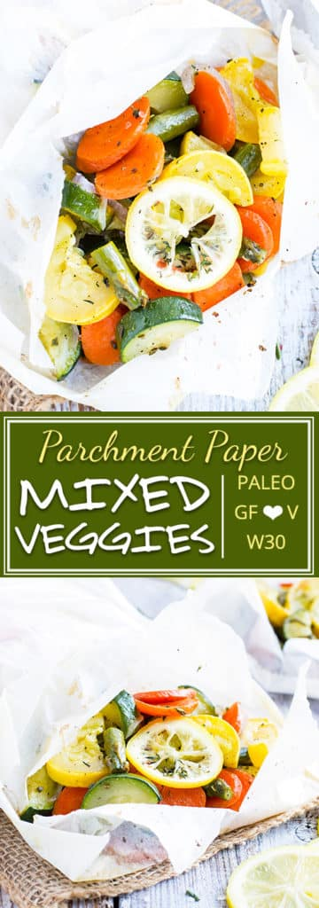 Mixed Vegetables in Parchment Paper | Learn how to bake mixed vegetables in parchment paper for a quick and simple gluten-free, vegan, Paleo, and Whole30 side dish recipe. This easy mixed vegetable recipe is full of lemon flavor, fresh herbs, baked in the oven, and loaded with nutrition! Carrots, zucchini, squash, and aspargus come together to make this packet of summer vegetables!