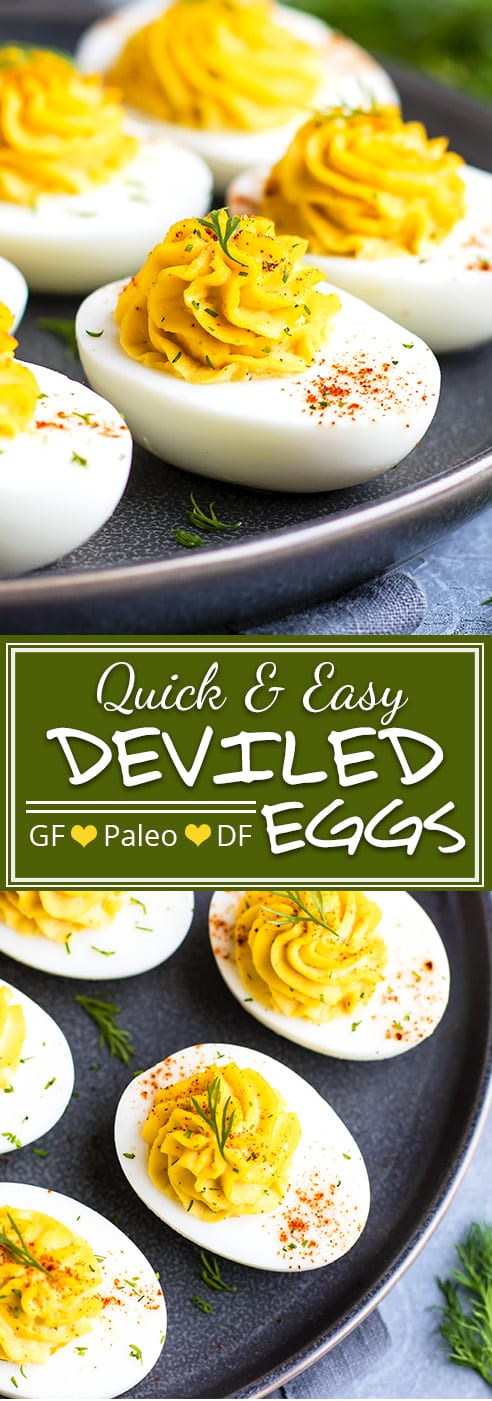 Paleo Classic Deviled Eggs | Classic Deviled Eggs have been made Paleo by using avocado mayo!  Fresh dill and a bit of spice is added to make these Paleo deviled eggs a low-carb appetizer recipe for the books!