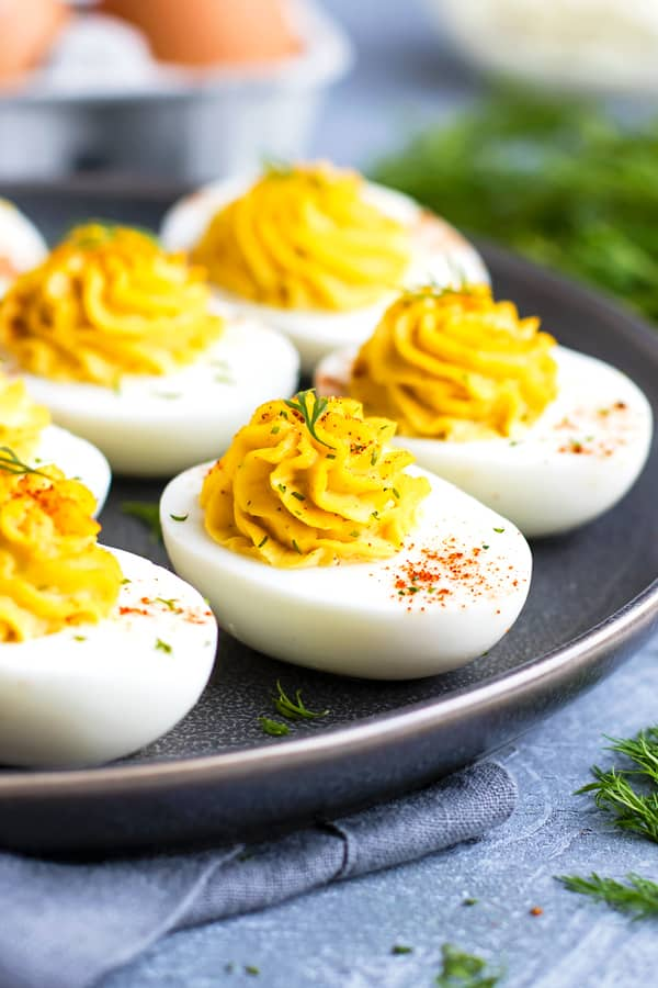 Paleo classic deviled eggs on a tray for dinner.