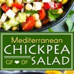 Mediterranean Chickpea Salad with Cucumber | Simple, fresh, and nutritious... this Mediterranean Chickpea Salad has it all!  Only 10 minutes of prep, and 5 minutes of assembly are needed to whip up this gluten-free and vegetarian Mediterranean cucumber salad.  This simple chickpea salad is great for potlucks, healthy meal prep lunches, or for bringing to a party.