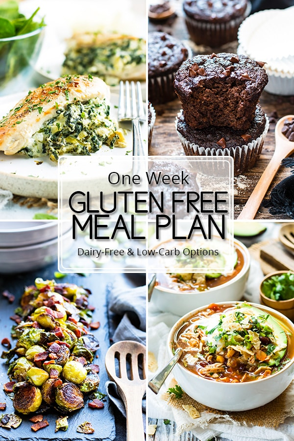 A gluten-free meal plan that is full of kid-friendly recipes, as well as a number of dairy-free and low-carb meal plan options.   This healthy meal plan is full of four main dish recipes, two side dish recipes, one dessert, and one breakfast option.  You can also download free printable recipe cards and an organized grocery list!