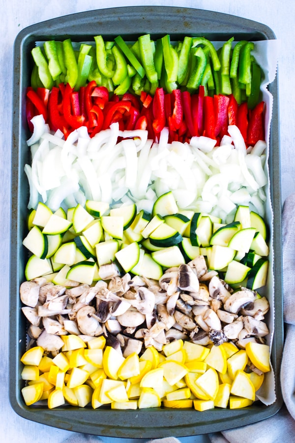 Roasted Vegetable Pasta Bake | Roasted vegetable pasta bake is LOADED with zucchini, summer squash, bell peppers, mushrooms, onions and then baked to a crispy golden perfection. This vegetarian and gluten-free pasta bake has always been a go-to dinner recipe in our house!