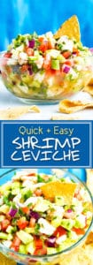 Easy Shrimp Ceviche Recipe | Mexican Shrimp Ceviche with Avocado is a refreshing low-carb, gluten-free, dairy-free, sugar-free, Paleo, and Whole30 appetizer recipe for these warmer months! Serve it with tortilla chips, on top of your favorite chicken dish, or eat it by the spoonful for lunch or dinner!