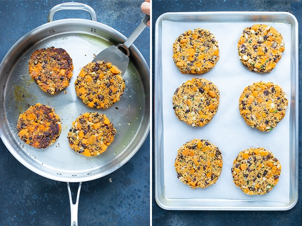 Cooking sweet potato black bean burgers in a skillet, on a baking sheet, or on the grill.