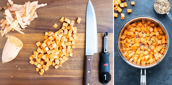 Sweet potatoes that have been peeled and cut into cubes and then cooked with quinoa.