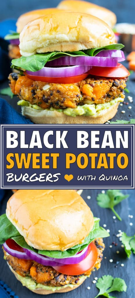 Sweet potato black bean veggie burger patty on a gluten-free bun with red onion, tomatoes, and lettuce.