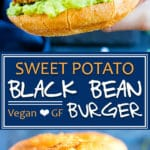 Sweet Potato Black Bean Burger Recipe | This Sweet Potato Black Bean Burger recipe is made with quinoa and loaded with spices for a hearty and filling veggie burger. You can bake this black bean quinoa burger in the oven or sear it on the stove for a gluten-free, dairy-free, vegetarian, and vegan burger recipe!