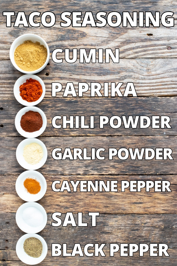 Taco seasoning ingredients on a wooden backdrop showing what is in taco seasoning mix.