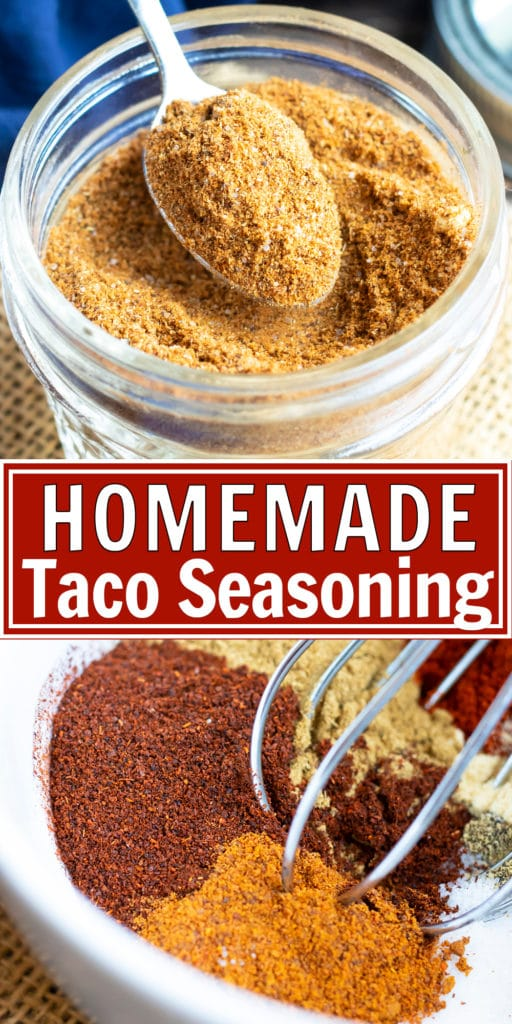 A hand scooping out a teaspoon of DIY taco seasoning to use in a recipe.