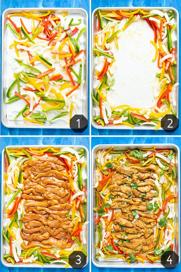 Four images showing how to make chicken fajitas that are baked on a sheet pan with veggies.